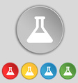 Conical Flask icon sign Symbol on five flat vector image vector image