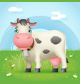 cow eat grass standing farm mammal cute animal vector image