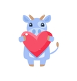 Cow Holding Pink Heart vector image vector image