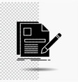 document file page pen resume glyph icon on vector image