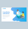 example medical consultation web site for vector image vector image