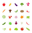 flat colorful vegetable silhouettes vector image vector image