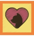 flat shading style icon cat heart vector image vector image