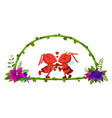 frame of bamboo and couple ant vector image vector image