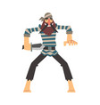 funny brave pirate with dagger male buccaneer vector image vector image