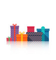 gifts boxes beautiful present box with bow gift vector image vector image