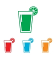 Glass of juice icons Colorfull set vector image vector image