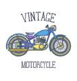 hand drawn vintage motorcycle logo design vector image vector image