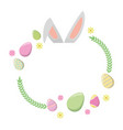 happy easter ears flowers eggs vector image vector image