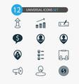 human icons set with business dollar bank check vector image