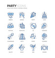 line party icons vector image vector image