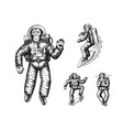 monkey astronaut riding skateboard and snowboard vector image