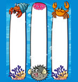 paper template with sea animals vector image vector image