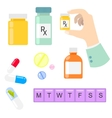 Pills and drug medicaments in flat style vector image vector image