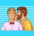 pop art men whisper about sales vector image vector image