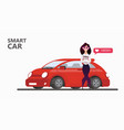 popular red car on a white background happy woman vector image
