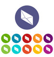 postal letter icons set color vector image vector image
