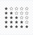 rating stars icon isolated on transparent vector image vector image