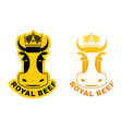 Royal Beef logo Cow in crown Logo for production vector image vector image