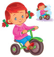 small girl riding a tricycle vector image vector image