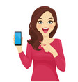 surprised woman pointing phone vector image vector image
