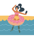 tanned girl making selfie in sea on rubber ring vector image