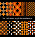ten halloween seamless pattern designs collection vector image vector image