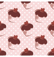 Tile chocolate cupcake and polka dots pattern vector image vector image