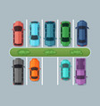 top view parking cars on asphalt in urban map vector image vector image