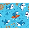 Underwater world with funny sharks background vector image