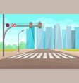 urban landscape with road crosswalk traffic vector image vector image