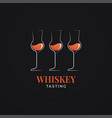 whiskey tasting logo with whisky glasses on black vector image vector image
