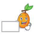 with board juicy yellow plums with leaves cartoon vector image vector image
