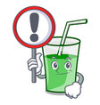 with sign green smoothie character cartoon vector image