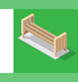 wooden bench on green background - isometric vector image vector image