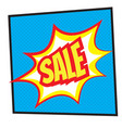 sale label in pop art style over dotted background vector image