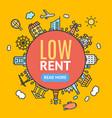 low rent banner vector image
