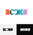 Books word text logo with open book silhouette vector image