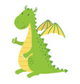 a cute cartoon dragon character giving thumbs up vector image