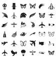 aerospace icons set simle style