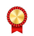 award ribbon gold icon golden red medal design vector image