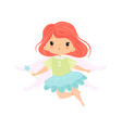 beautiful little winged fairy sweet flying girl vector image vector image