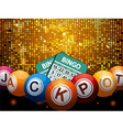 Bingo balls jackpot and cards over disco wall vector image vector image