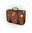 Brown travel suitcase comics icon vector image vector image