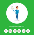 business strategy businessman holding plan page vector image vector image