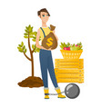 chained caucasian farmer holding a money bag vector image vector image