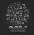 cheese and wine store set with food and vector image
