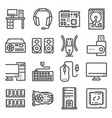 computer hardware icons pc components vector image