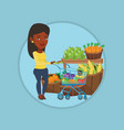 customer with shopping cart vector image vector image
