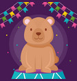 cute bear teddy in stage vector image